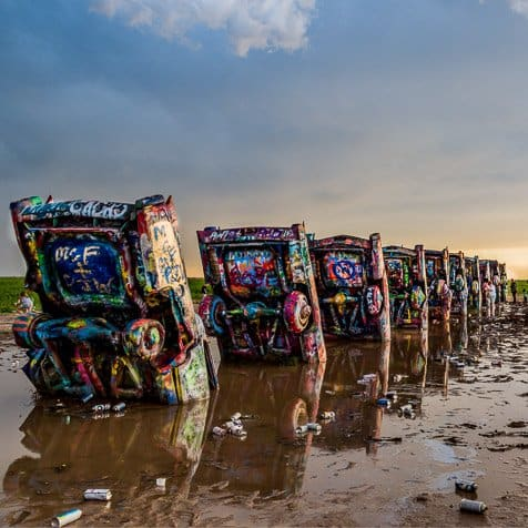 #Converging Lines #ConvergingLines. Cadillac Ranch cady's all in a row.