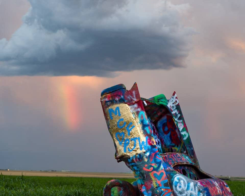 #Converging Lines #ConvergingLines #travelphotography #photography Rainbow, Clouds and the CadillacRanch
