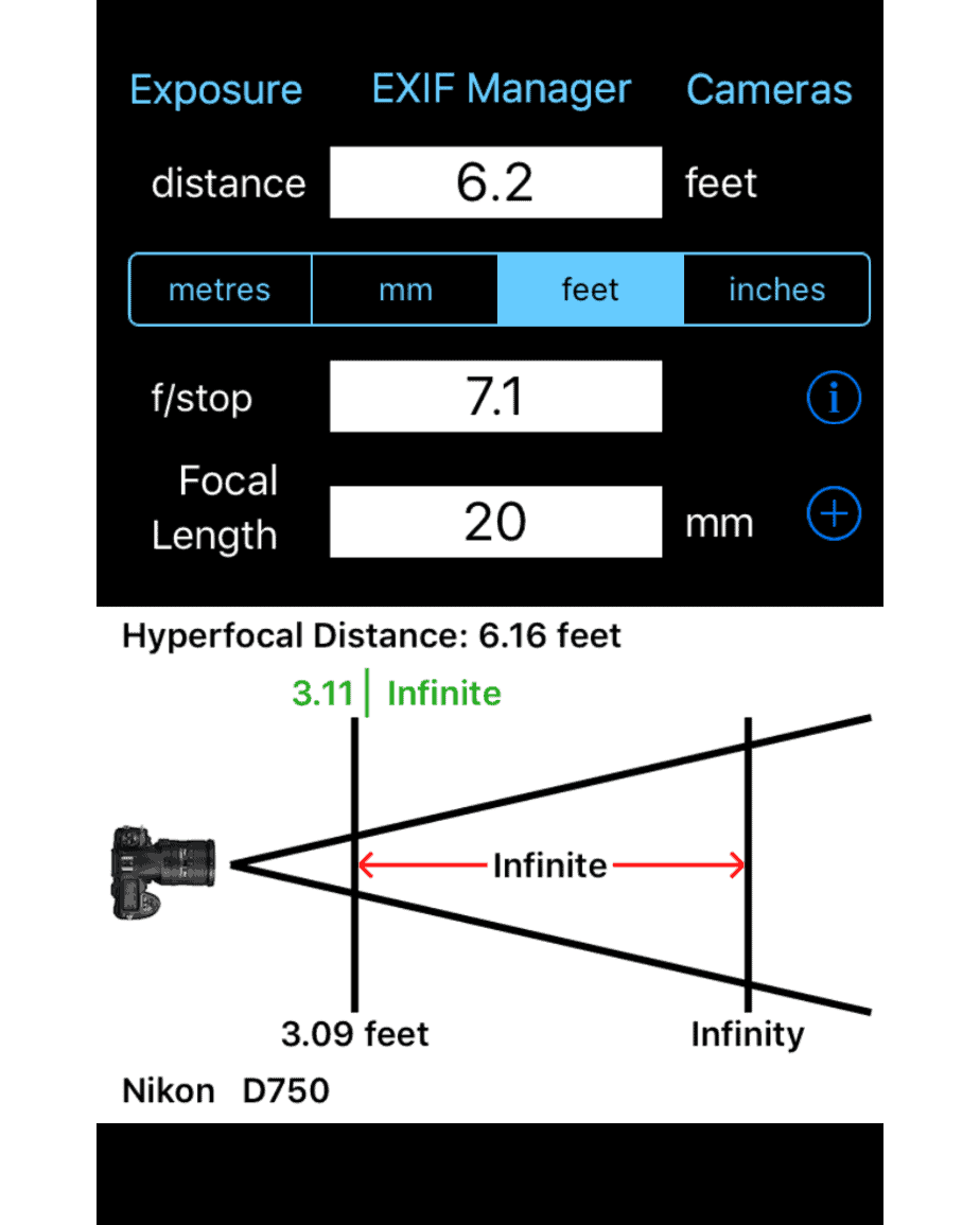 Graphic from Depth of Field Calc App